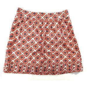 LOFT A-line skirt orange blue purple white (E437)